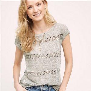 AKEMI + KIN lattice lace grey 100% linen top